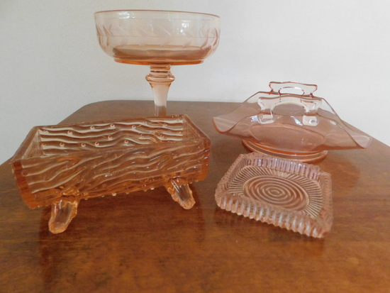(4) MISC. PINK DEPRESSION GLASS ITEMS