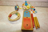 VINTAGE TIN TOP, NOISE MAKERS AND RING TOSS GAME