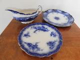 FLOW BLUE GRAVY BOAT & (2) PLATES