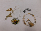 BSA EAGLE FAUCETT & SHRINK ART NECKLACES W/ BEADDED BRACELET