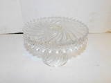CLEAR GLASS CRYSTAL PEDISTAL CAKE PLATE