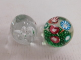 (2) GLASS PAPERWEIGHTS