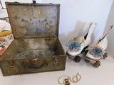 VINTAGE ROLLER SKATES IN METAL CASE