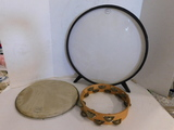 (2) MISC. DRUM HEADS & TAMBORINE