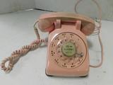 VINTAGE PINK ITT KELLOGG ROTARY DESK TELEPHONE