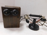 ANTIQUE KELLOGG TABLE / WALL TELEPHONE