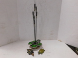 HANDMADE CATTAIL SCULPTURE & (2) METAL TURTLES