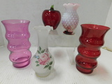 (4) MISC. PINK & RED VASES & APPLE PAPERWEIGHT