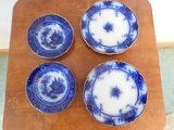 (4) FLOW BLUE DISHES