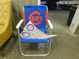 HANDMADE MACRAME CUBS LAWN CHAIR & (2) PENNANTS