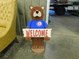 HANDMADE WOODEN CUBS BEAR WELCOME SIGN