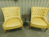 (2) MATCHING VINTAGE YELLOW CHAIRS & SMALL TABLE / PLANT STAND