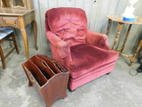 SMALL RED UPHOLSTERED CHAIR & MAGAZINE RACK