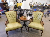 MATCHING GREEN UPHOLSTERED CHAIRS & LAMP TABLE W/ LAMP