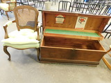 ROOS SWEETHEART CEDAR CHEST & GREEN UPHOLSTERED CANE BACK CHAIR