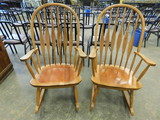 (2) MATCHING OAK ROCKING CHAIRS