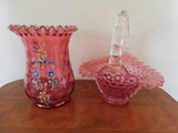 ETCHED PINK DEPRESSION CANDY DISHES & VASE