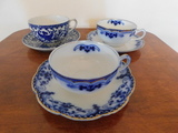 (3) FLOW BLUE CUPS & SAUCERS