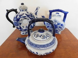 (3) BLUE & WHITE DECORATIVE TEA POTS