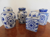 (4) MISC. CERAMIC DECORATIVE GINGER JARS