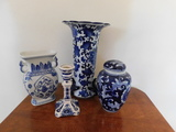 DELFT BLUE CANDLESTICK, VASE, PITCHER & GINGER JAR
