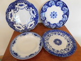 (4) ASSORTED FLOW BLUE PLATES & BOWL