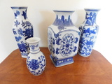 (4) ASSORTED BLUE & WHITE CERAMIC VASES