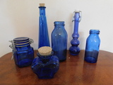 (6) MISC. SMALL BLUE BOTTLES & JARS