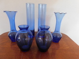 (6) MISC. SMALL BLUE VASES
