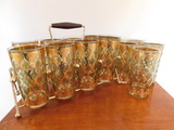 (13) VINTAGE GOLD TRIMMED DRINKING GLASSES