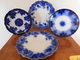 (4) FLOW BLUE PLATES & BOWL