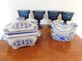 (4) BLUE GLASS GOBLETS & (2) CERAMIC COVERED POTS