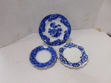 (3) ASSORTED FLOW BLUE PLATES