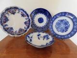 (4) FLOW BLUE PLATES & BOWLS