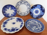 (5) MISC. FLOW BLUE PLATES / SAUCERS