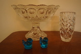 CRYSTAL COMPOTE, VASE & (2) BLUEBIRDS