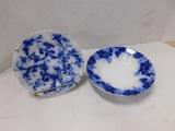 (2) FLOW BLUE PLATES / BOWLS