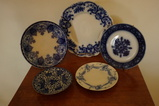 (5) FLOW BLUE PLATES / SAUCERS