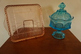 SQUARE PINK DEPRESSION GLASS TRAY & BLUE COIN GLASS CANDY DISH