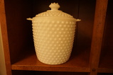 HOBNAIL MILK GLASS COOKIE JAR