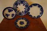(4) FLOW BLUE PLATES / SAUCERS