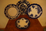 (4) MISC. FLOW BLUE PLATES