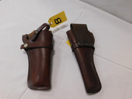 (2) LEATHER PISTOL HOLSTERS - BUCHEIMER & HH HEISER