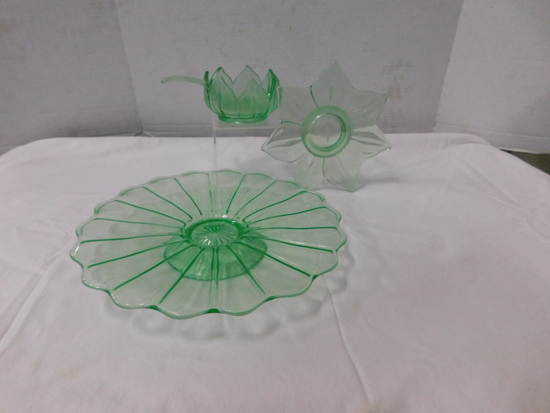 (4) PIECES GREEN DEPRESSION GLASS