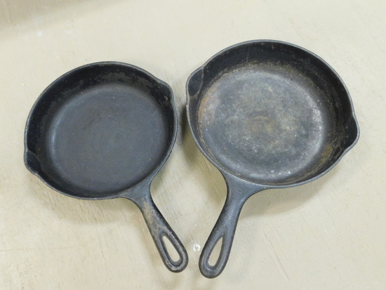 (2) UNMARKED CAST IRON SKILLETS
