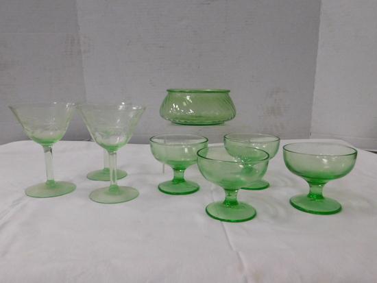 (7) ASSORTED GREEN DEPRESSION GLASS GLASSES / BOWLS