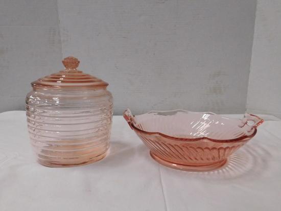 PINK DEPRESSION GLASS BOWL & COOKIE JAR
