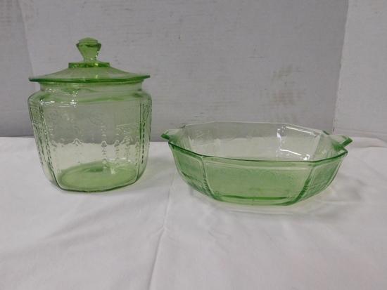GREEN DEPRESSION GLASS BOWL & COOKIE JAR