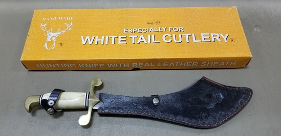 "WHITE TAIL CUTLERY 12 3/4"" STAG HANDLED HUNTING KNIFE - NIB"