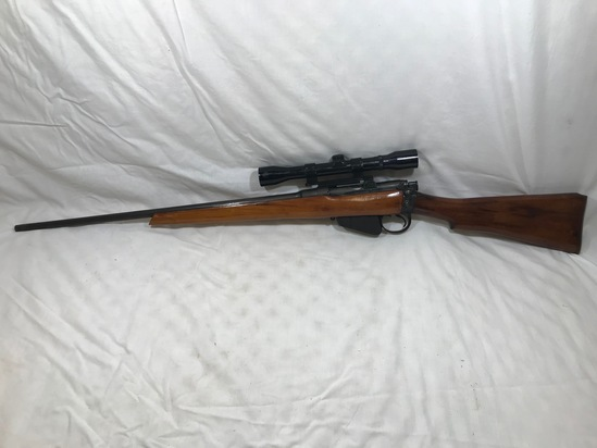 BRITISH ENFIELD SPORTERIZED .303 CAL RIFLE W/ PROOFS & 4X32 MODEL 564P SCOPE